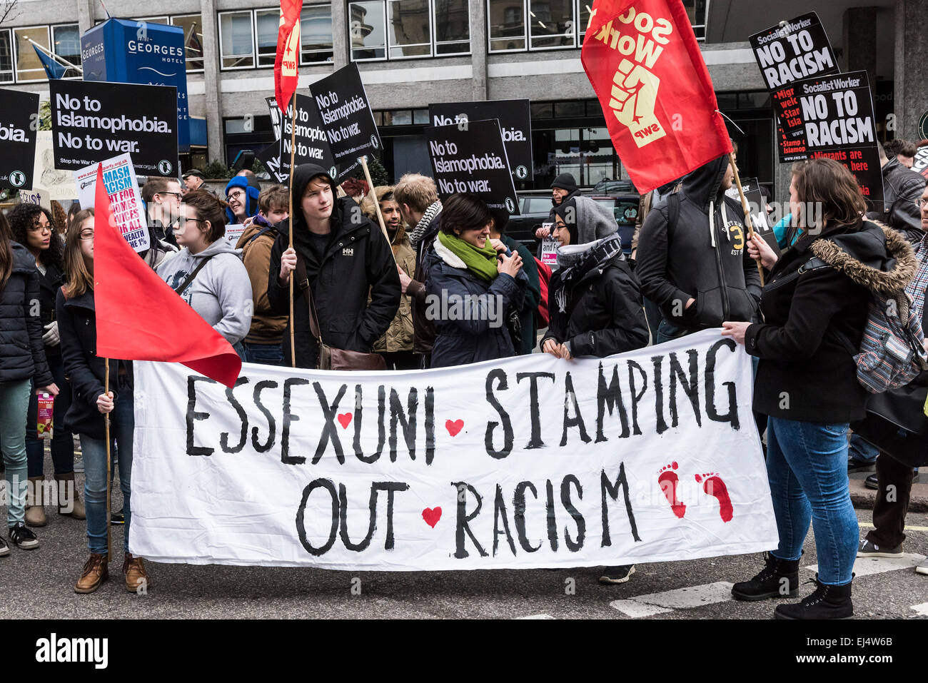London, UK. 21st March, 2015. Students from Essex University joined thousands of demonstrators gathered today in - Stock Image