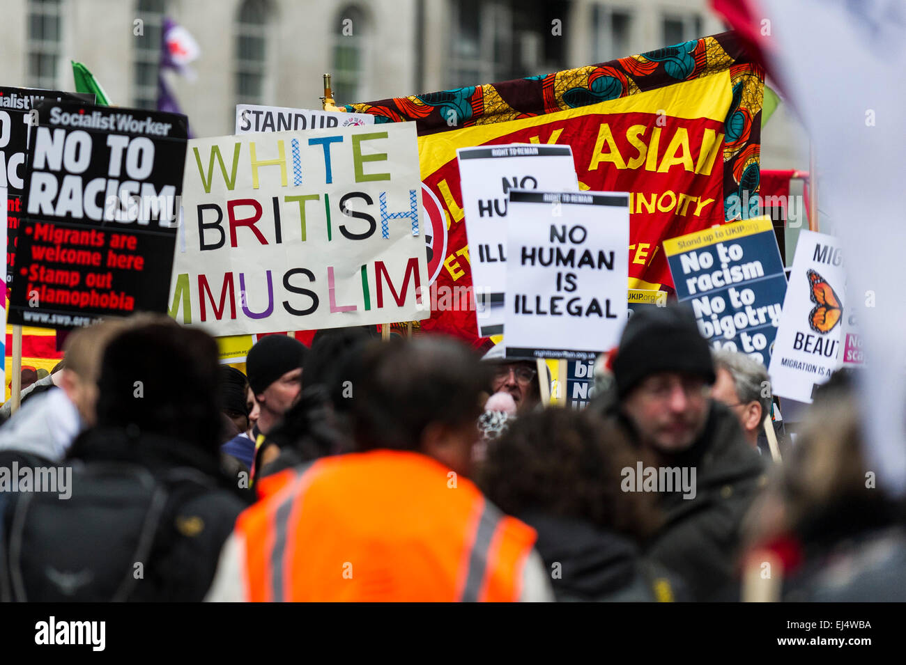 London, UK. 21st March, 2015. Thousands gathered today in London to participate in the Stand Up To Racism demonstration - Stock Image