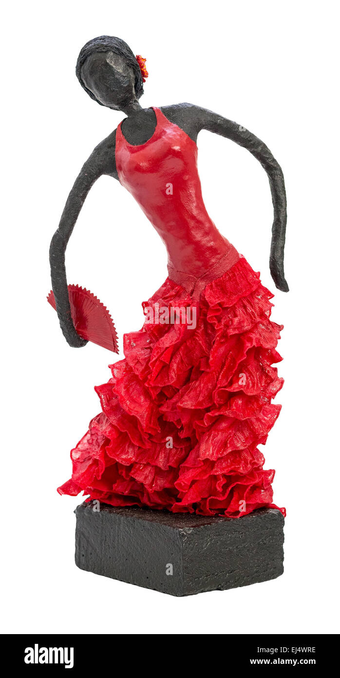 Paverpol Sculpture of Flamenco Dancer Wearing Red Dress Isolated on White Background - Stock Image