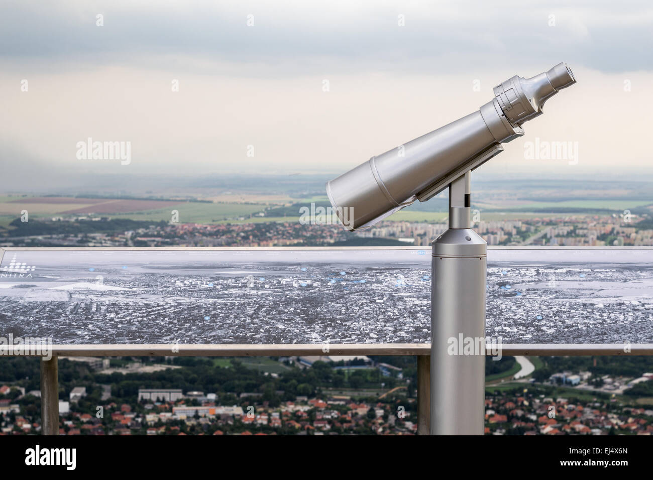 Binocular Viewer and Map of the Area Below the Zobor Mountain - Stock Image