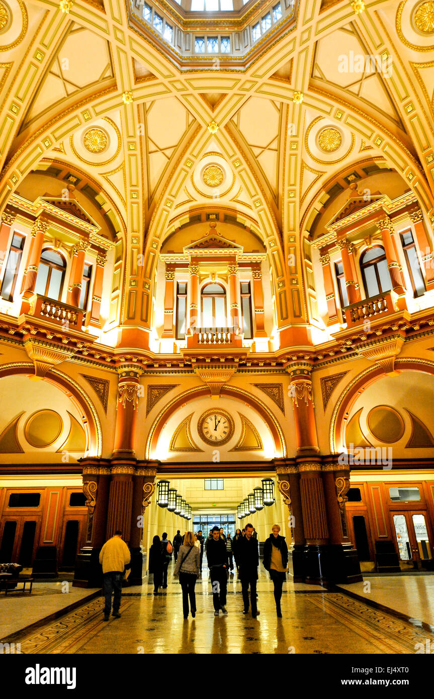 The ornate interior lobby of the historic office building at 333 Collins Street in Melbourne, Australia. - Stock Image