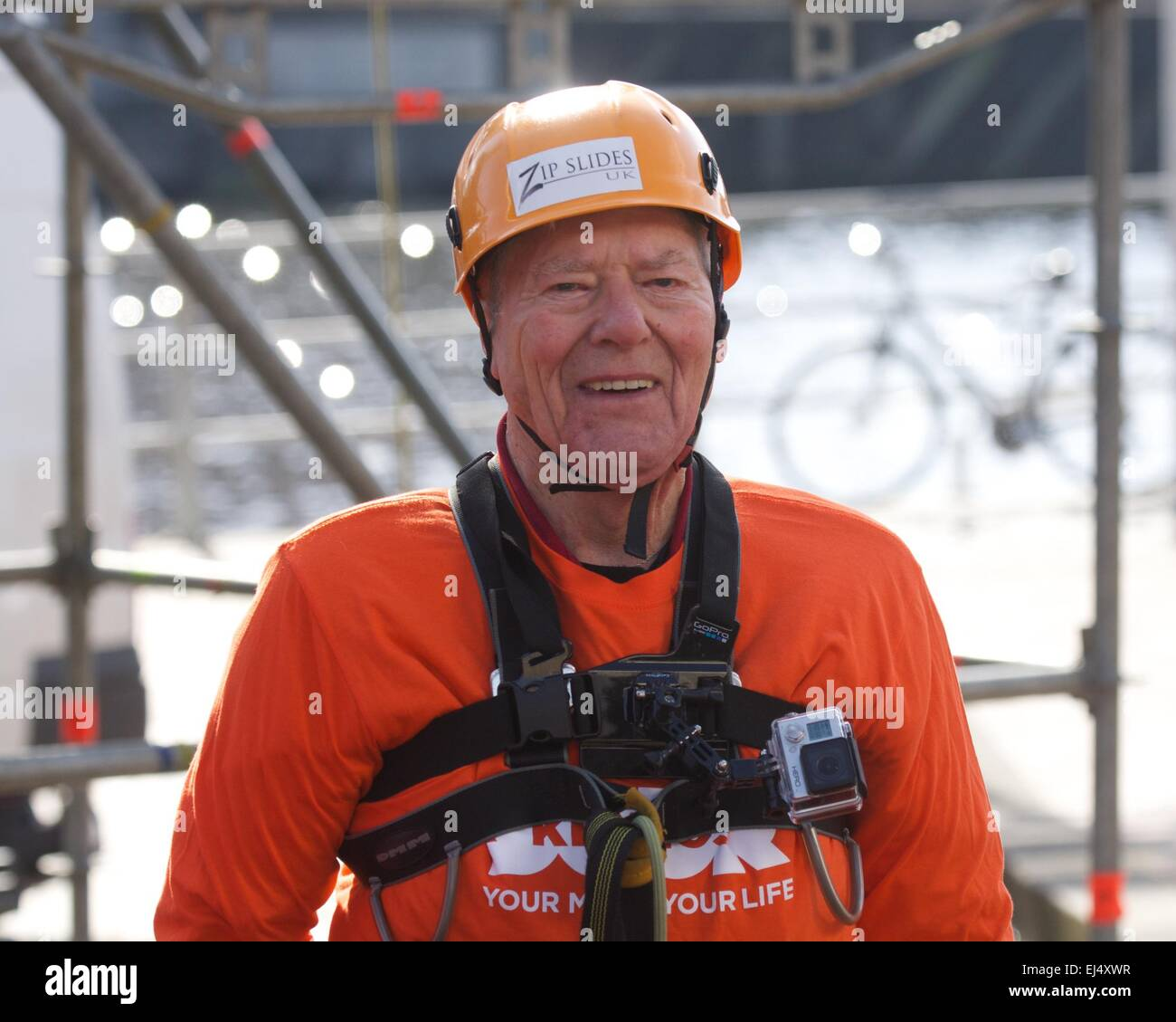 Salford, Greater Manchester UK  21st  March  2015 93 year-old Frank Tolley is all smiles after hiszip wire across Stock Photo