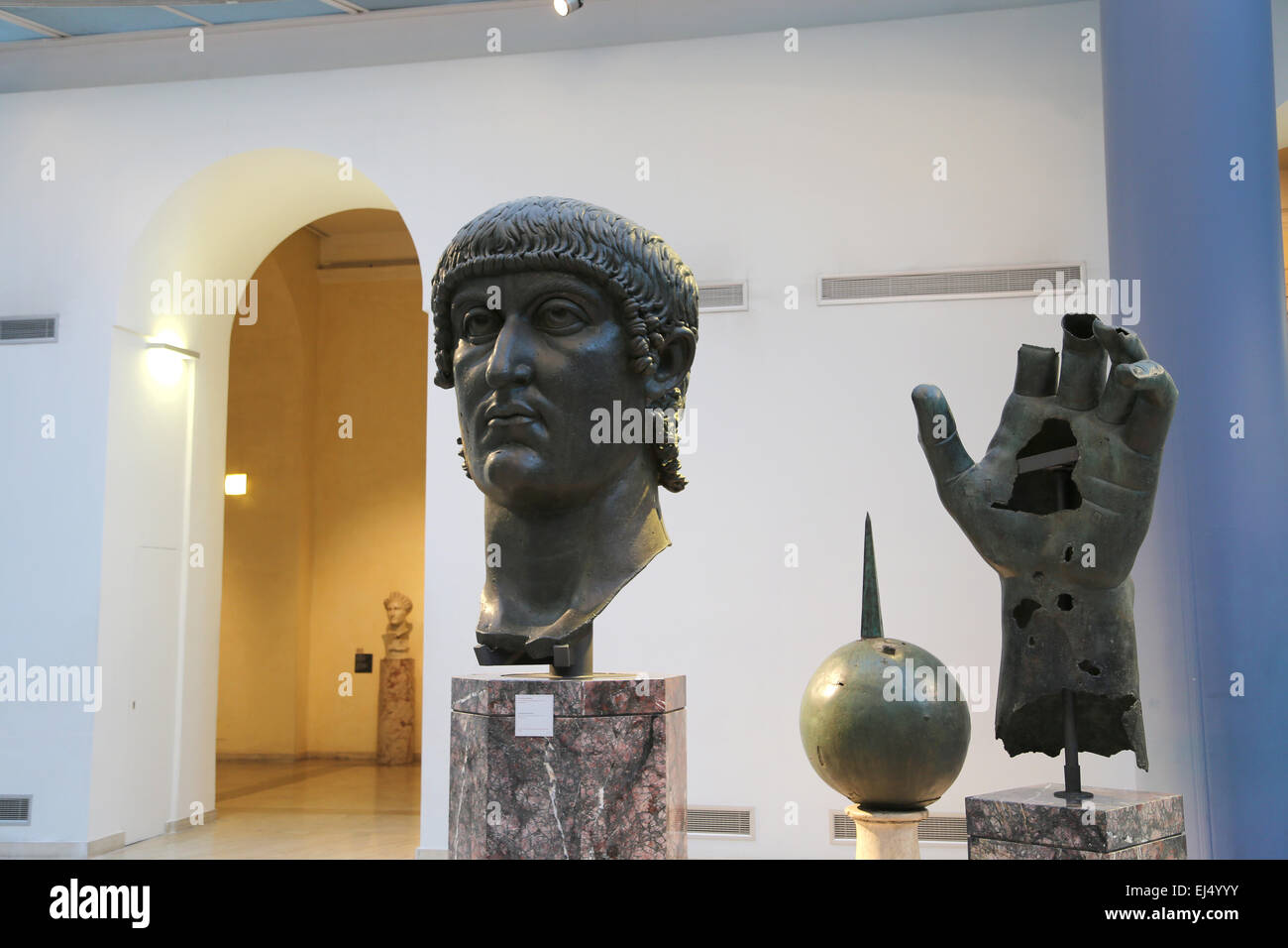 Colossal bronze head and hand of Constantine I (272-337 AD). 4th century AD. Capitoline Museums. Rome. Italy. - Stock Image