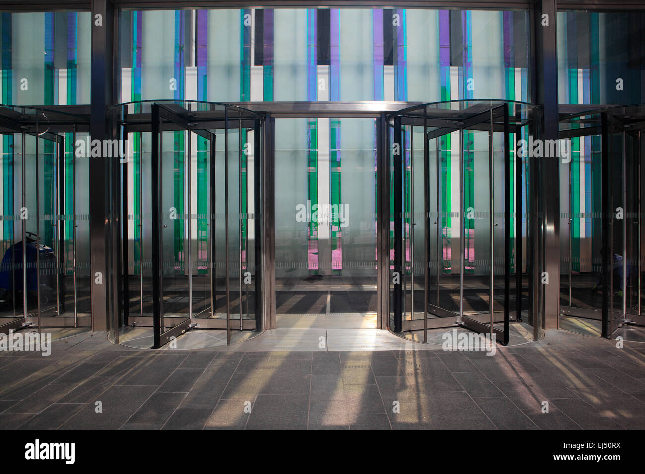 Building Entrance at One World Trade Center in New York City - Stock Image