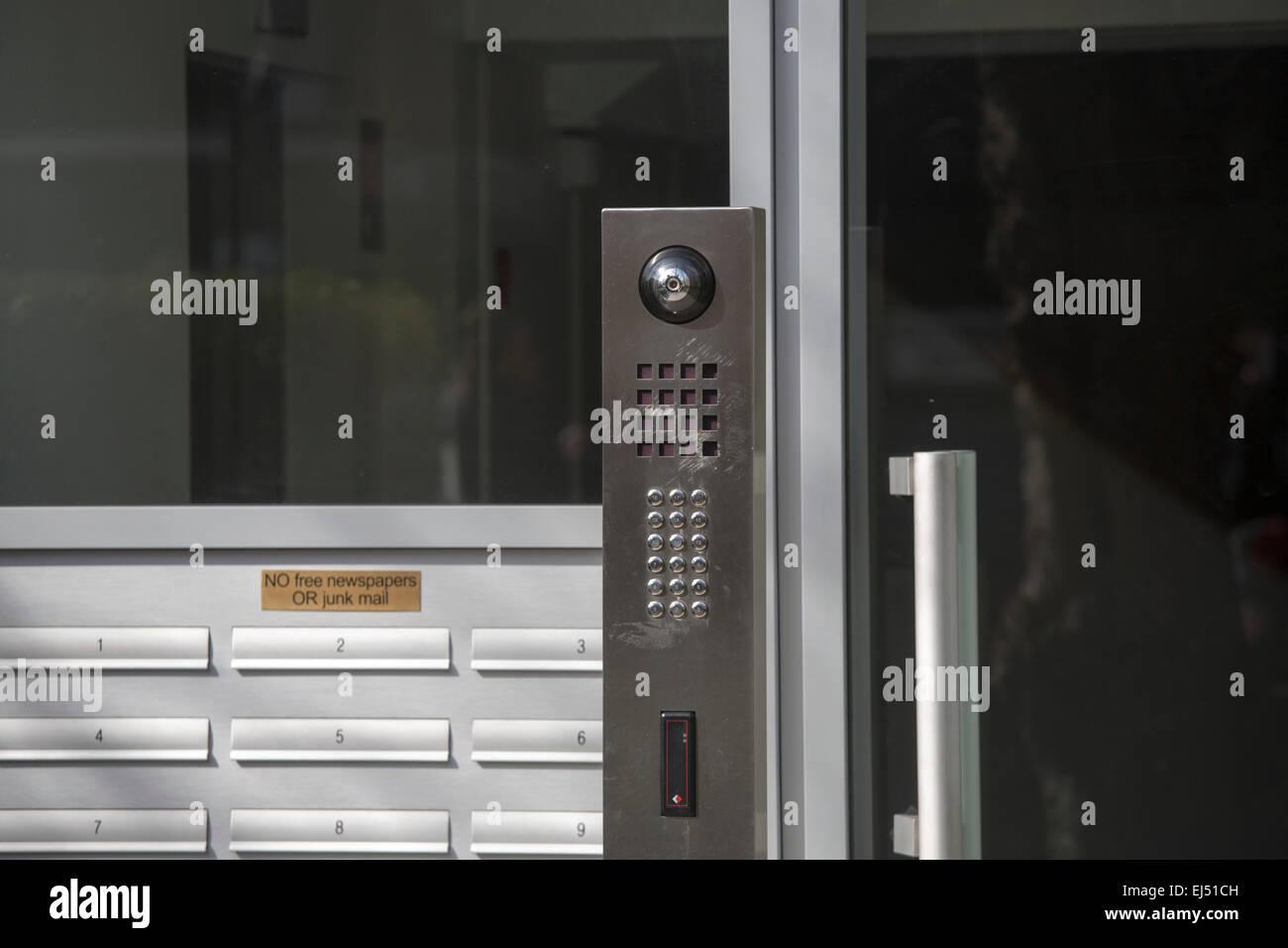 Entrance buzzer intercom bell keypad speaker camera - Stock Image