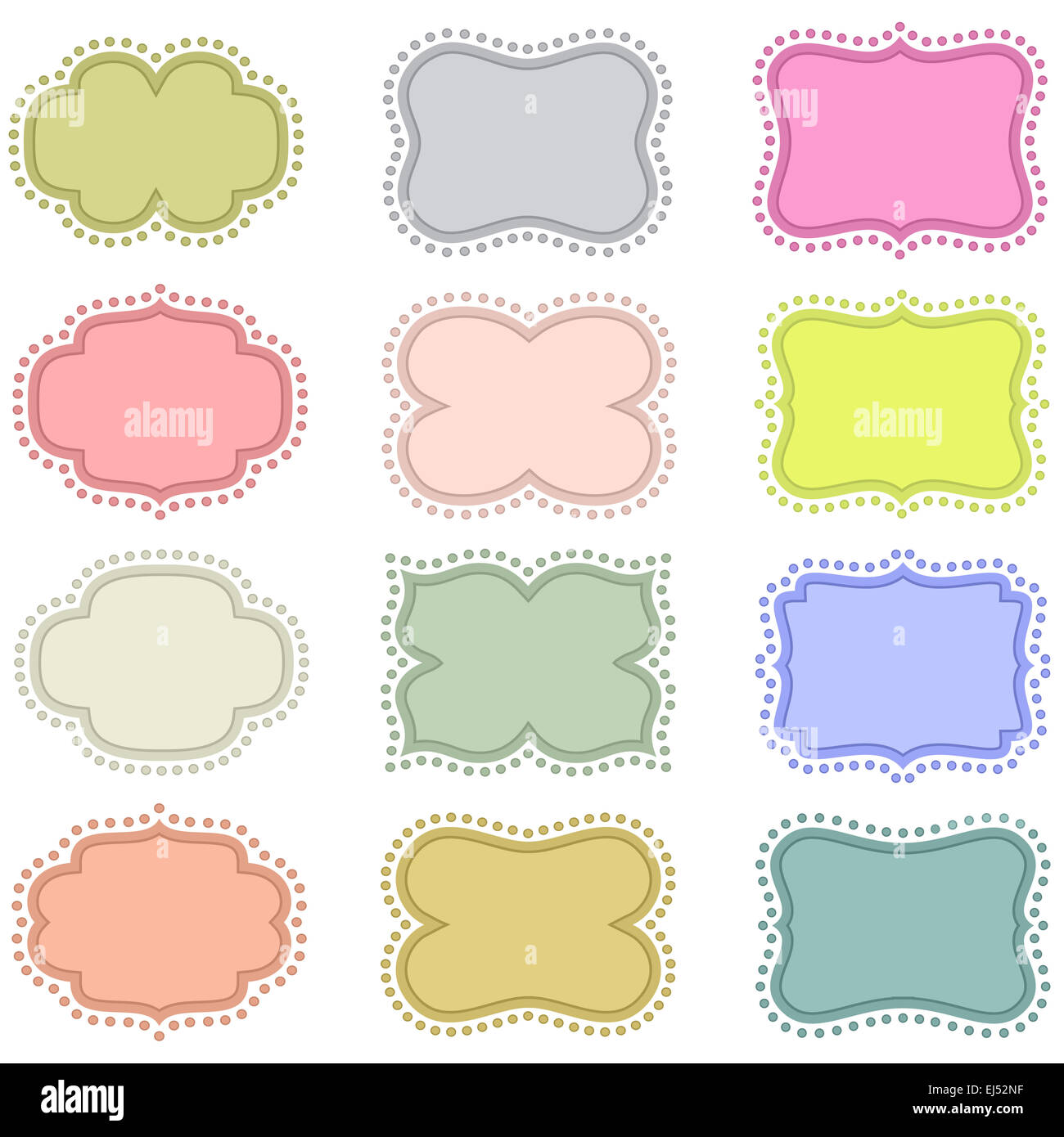 Set of vintage frames on a white background Stock Photo: 80017211 ...
