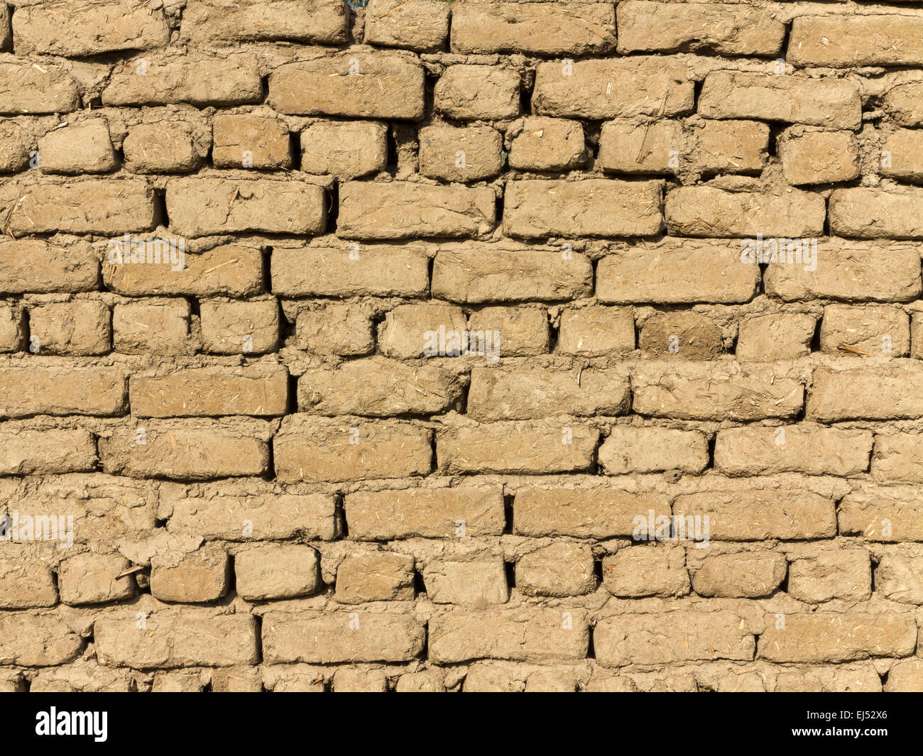 Detail close up of an area of mud brick wall, Egypt Africa - Stock Image