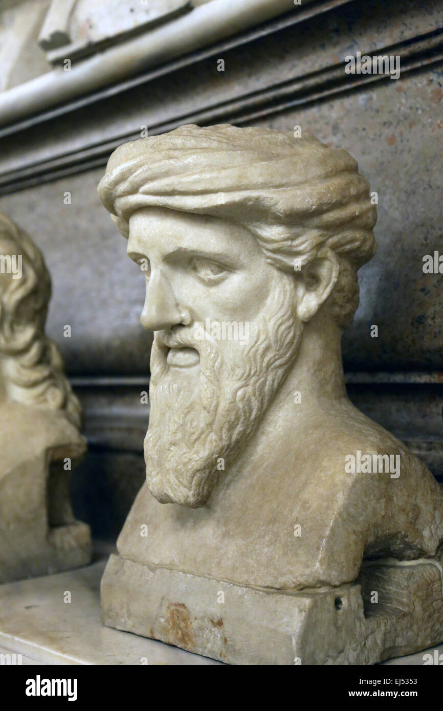 Bust of Greek philosopher and mathematician Pythagoras (570BC-495BC) of Samos in the Capitoline Museums. Rome. Italy. - Stock Image