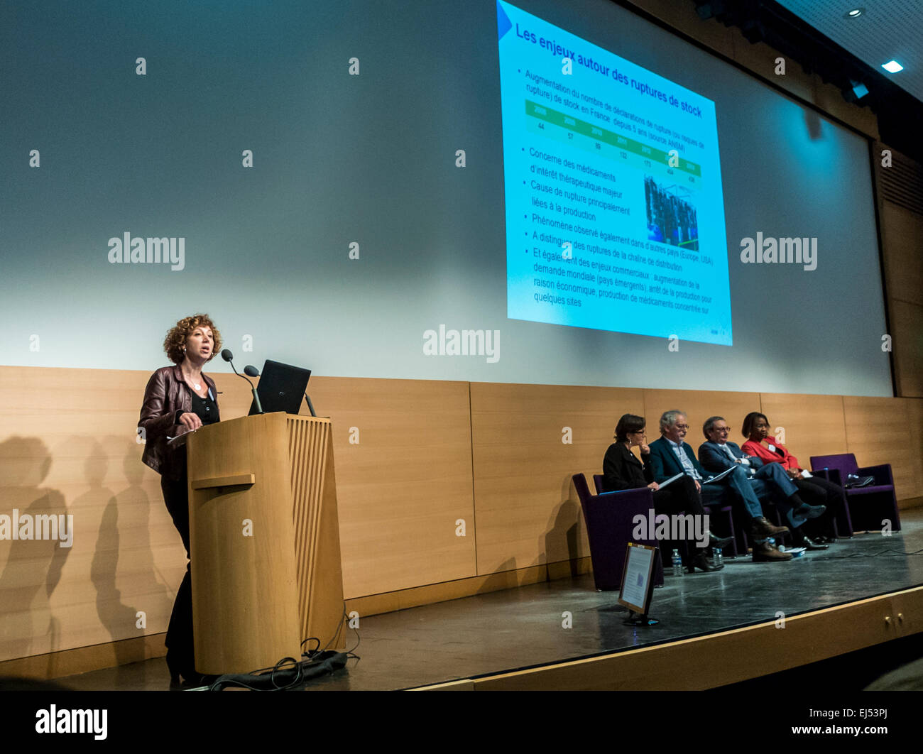 Paris, France, French Health Specialists, at Minister Meeting on Sexually Transmitted Diseases, Public Speaker, - Stock Image