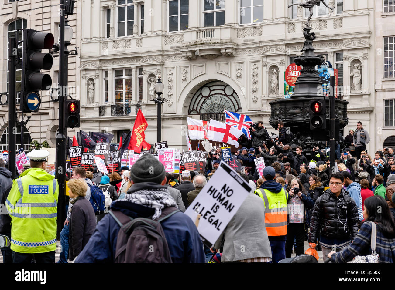 London, UK. 21st Mar, 2015. People marching through the streets of London in a march arranged by Unite Against Fascism - Stock Image