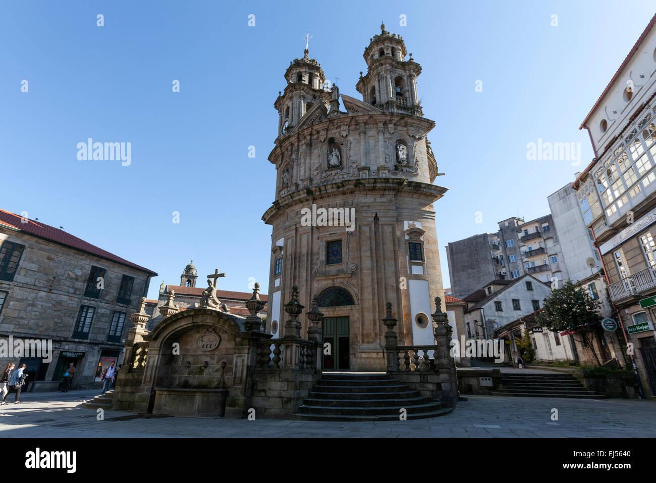 Rounded Baroque Pilgrim Church in Pontevedra - Stock Image