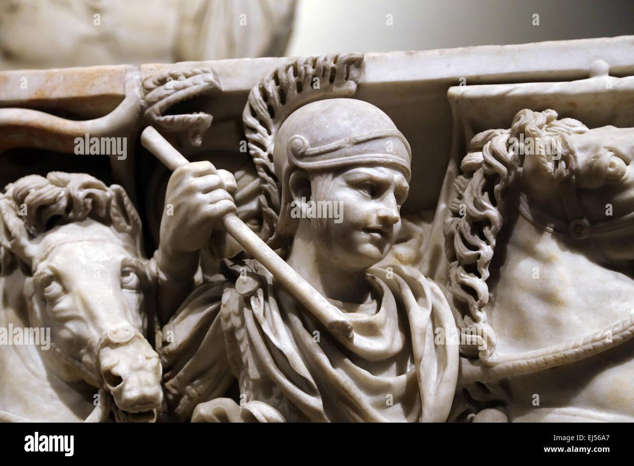 Ludovisi Battle sarcophagus. 3rd century. Roman era. Battle scene between Romans and Goths. Roman soldier. Altemps Stock Photo