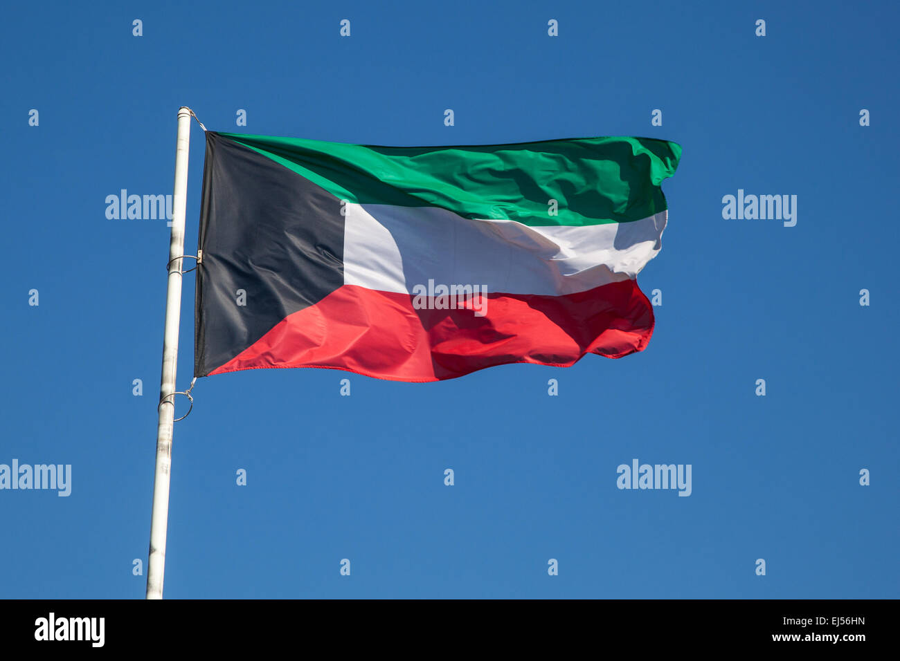 National Flag of Kuwait, Middle East - Stock Image