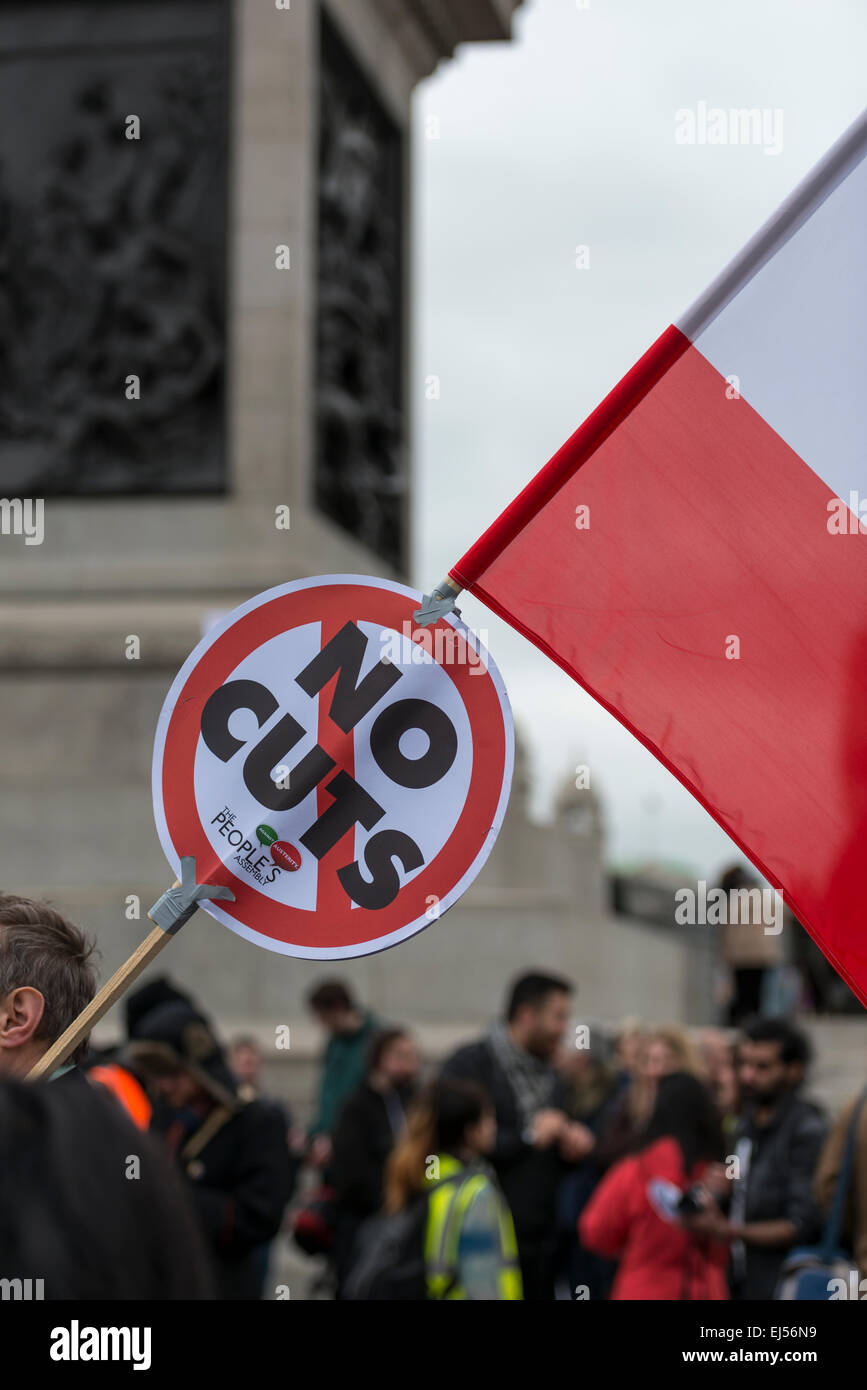 London, 21st March 2015 Anti-racism protesters gather in Trafalgar Square for a rally after a march through London - Stock Image