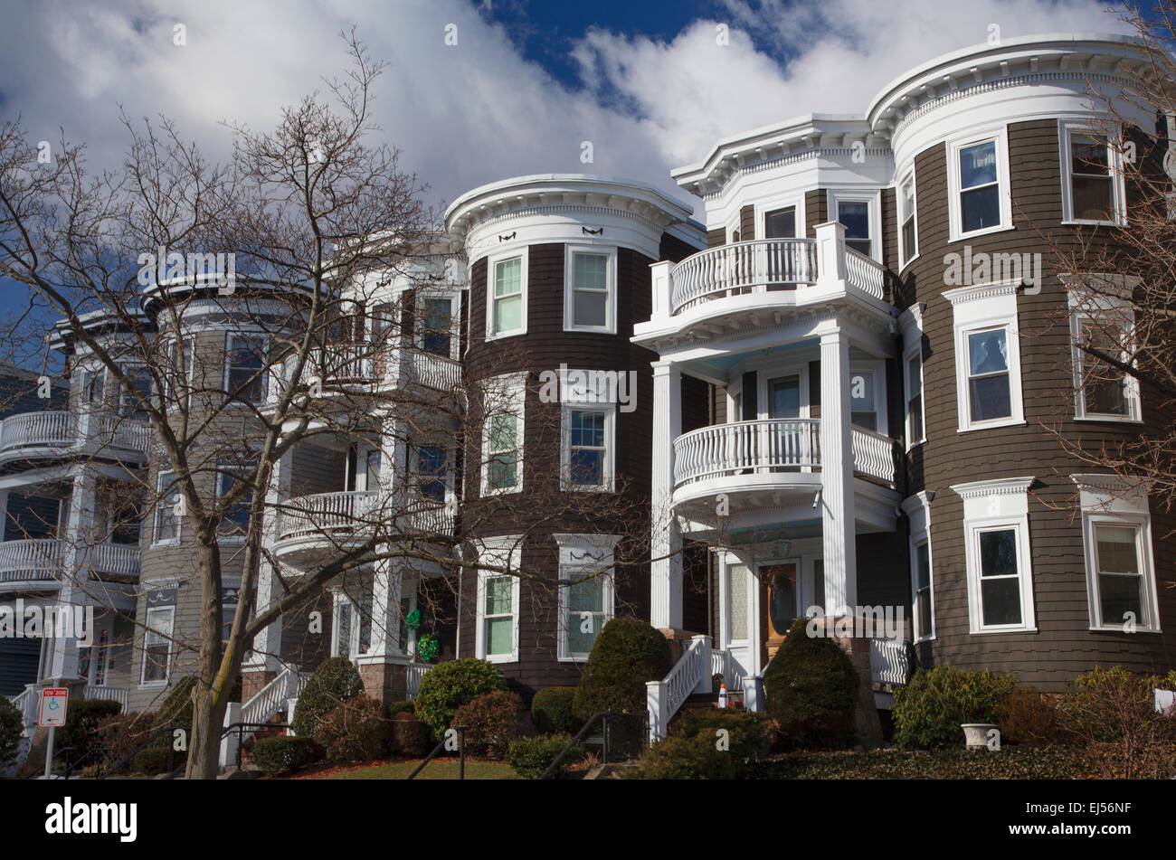 Upscale condos and homes of South Boston, Massachusetts, USA - Stock Image