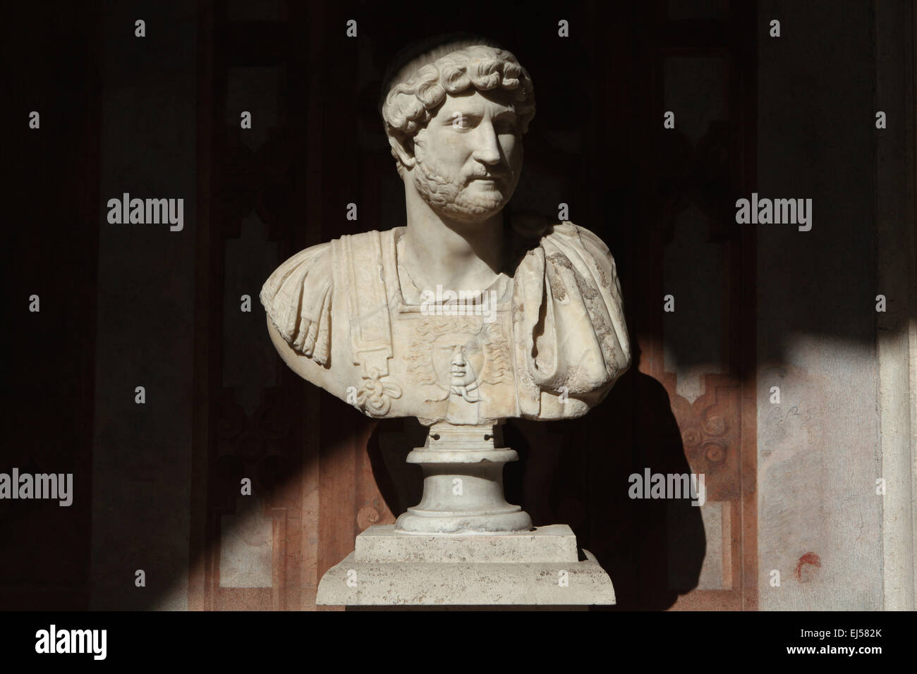 Roman emperor Hadrian. Roman marble bust from 2nd century AD. National Roman Museum, Palazzo Altemps, Rome, Italy. - Stock Image