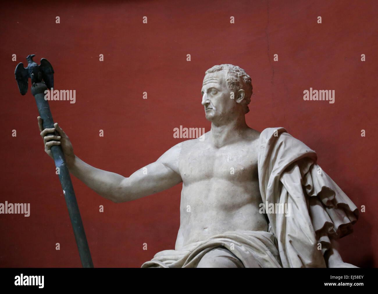Statue of the emperor Galba (3 BC-69 AD). Colossal statue from Aurelian walls. Restored by Bartolomeo Cavaceppi. - Stock Image