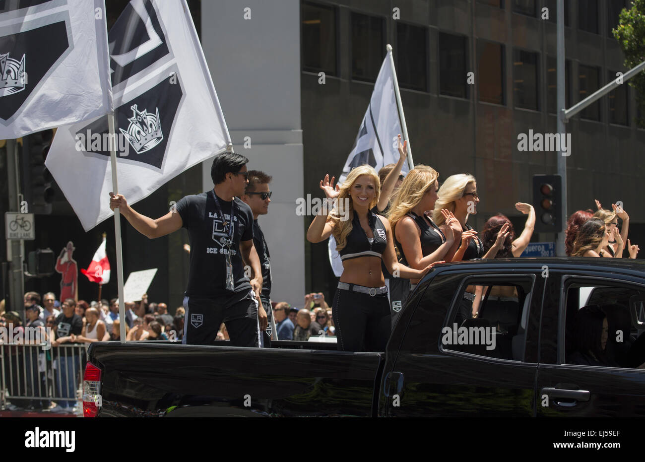 Cheerleaders at LA Kings 2014 Stanley Cup Victory Parade, Los Angeles, California, USA - Stock Image