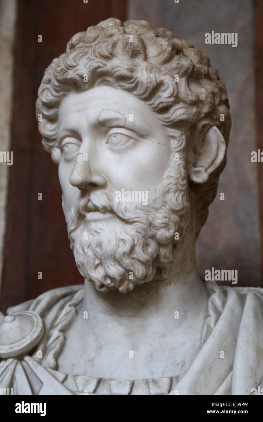 Marcus Aurelius (121-180 AD). Roman Emperor. Stoic philosopher. Antonine Dynasty. National Roman Museum. Palace - Stock Image