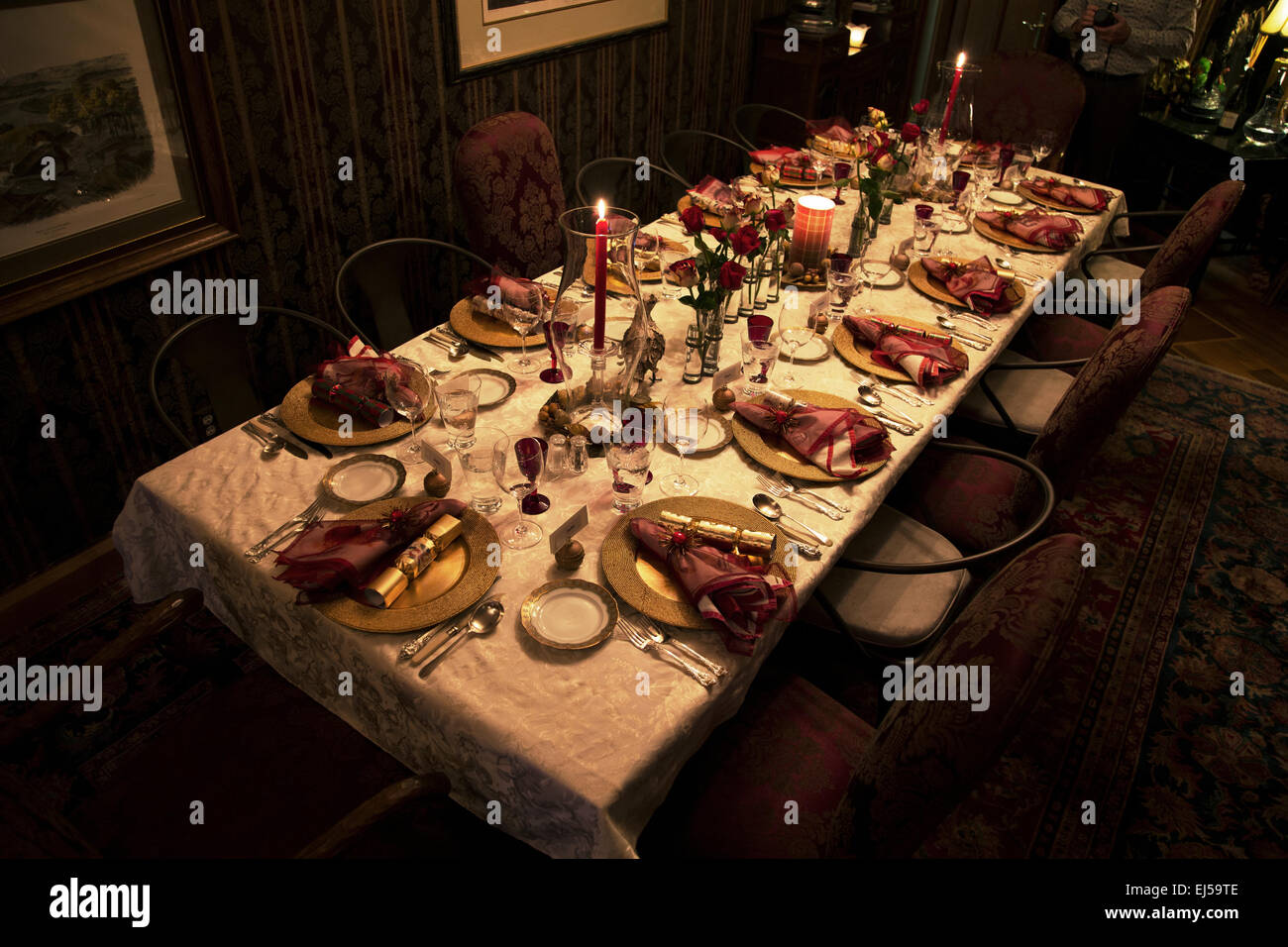 Christmas Dinner table setting Ojai California USA & Christmas Dinner table setting Ojai California USA Stock Photo ...