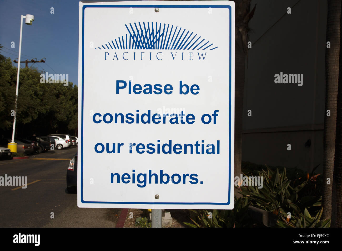 Please be considerate of residential neighbors, road sign, Ventura, California, USA - Stock Image