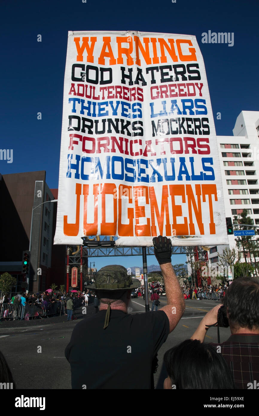 Sign for Christian extremist, anti-homosexual and atheists, hold sign, Chinese New Year, Los Angeles, California, - Stock Image