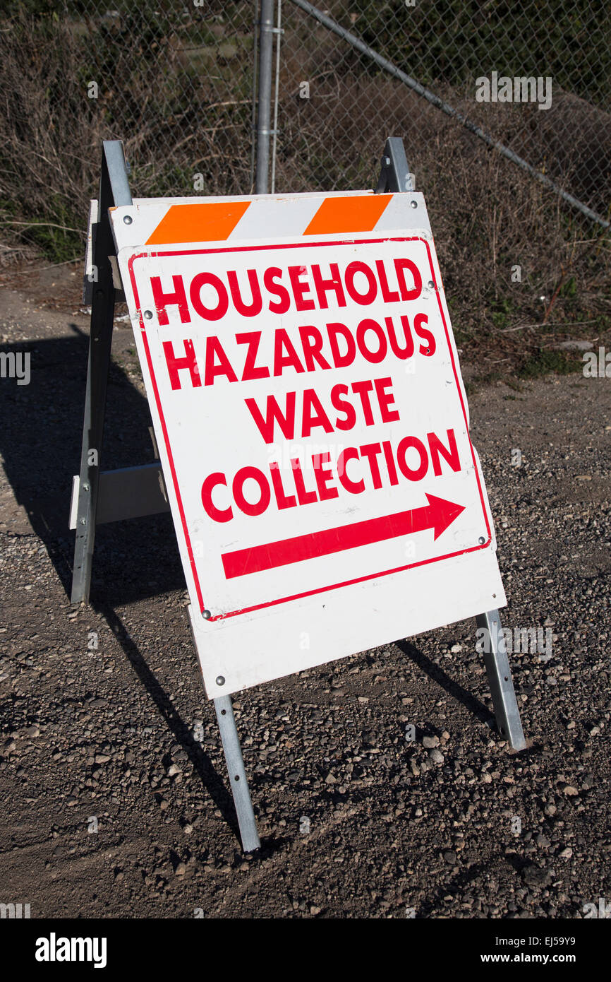 Sign directing to Household Hazardous Waste Collection - Stock Image