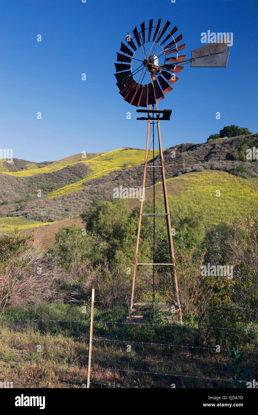 Old wind mill, La Canada' Road in spring, near Ventura, California, USA - Stock Image