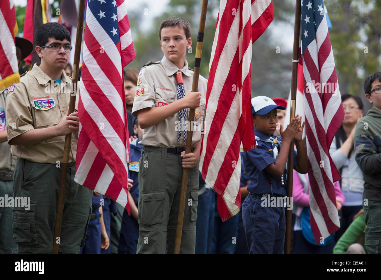 Boyscouts display US Flag at solemn 2014 Memorial Day Event, Los Angeles National Cemetery, California, USA - Stock Image