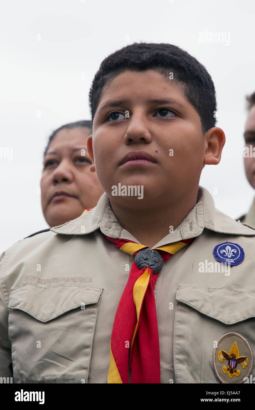 Boyscout faces at 2014 Memorial Day Event, Los Angeles National Cemetery, California, USA - Stock Image
