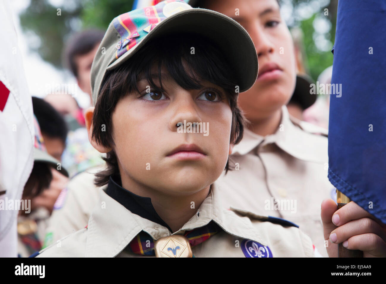 Boyscout face at 2014 Memorial Day Event, Los Angeles National Cemetery, California, USA - Stock Image