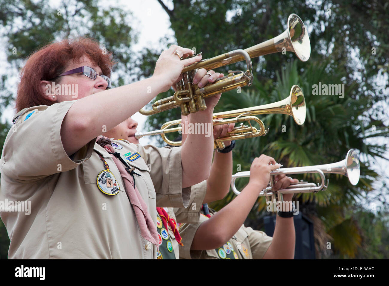 Trumpets play Taps at 2014 Memorial Day Event, Los Angeles National Cemetery, California, USA - Stock Image