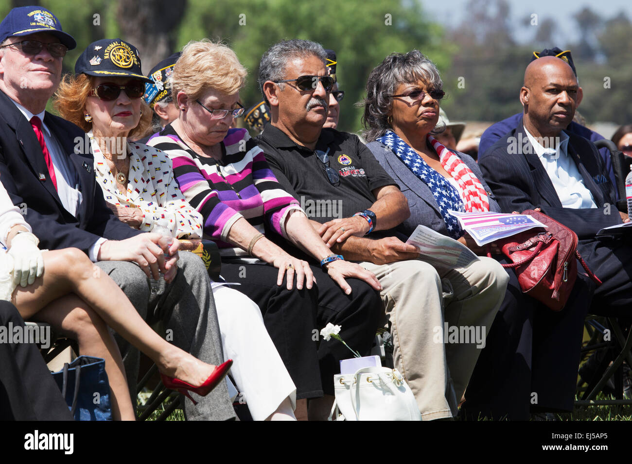 Solemn audience at Los Angeles National Cemetery Annual Memorial Event, May 26, 2014, California, USA - Stock Image