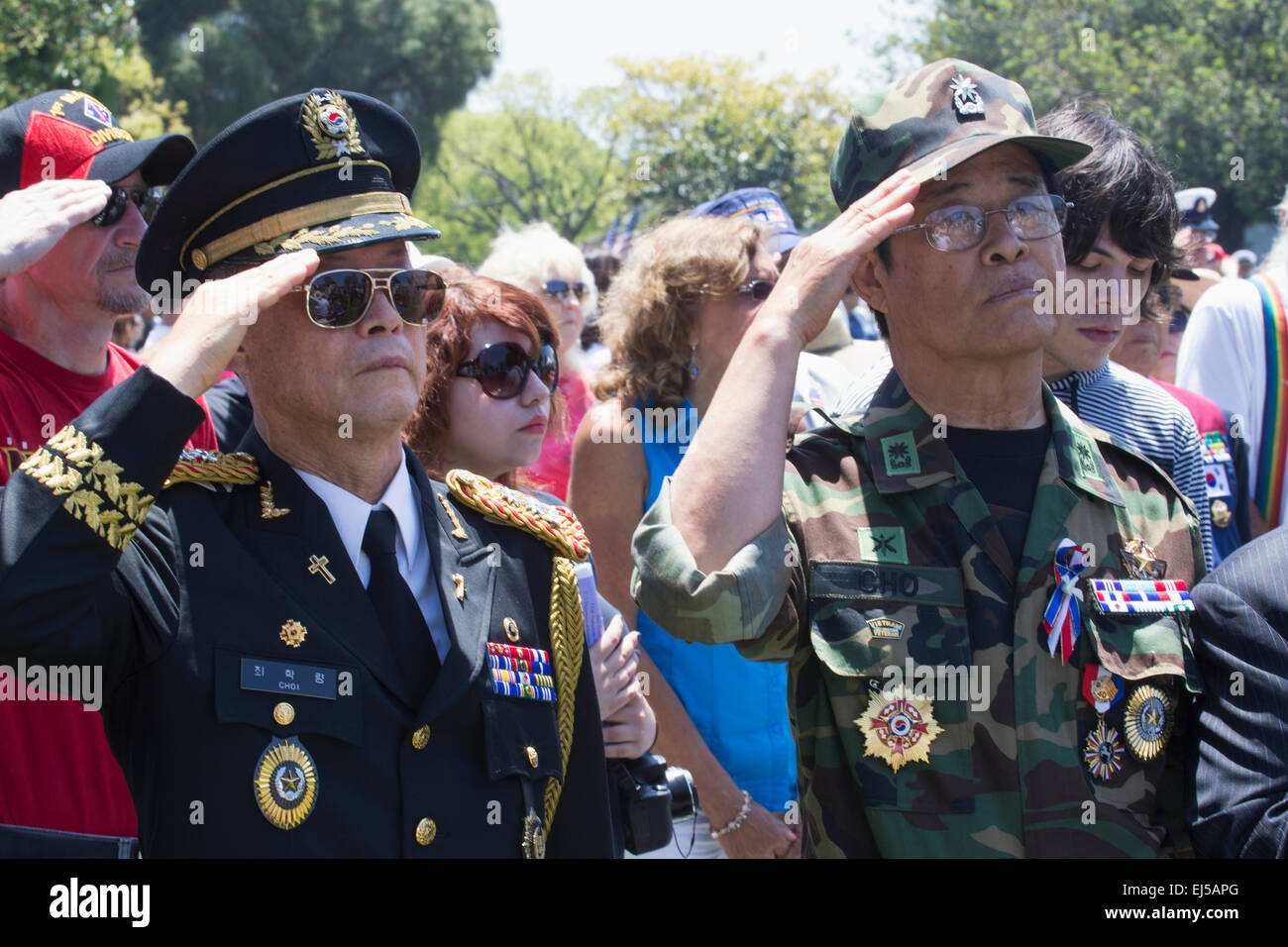 Vets saluting at Los Angeles National Cemetery Annual Memorial Event, May 26, 2014, California, USA - Stock Image