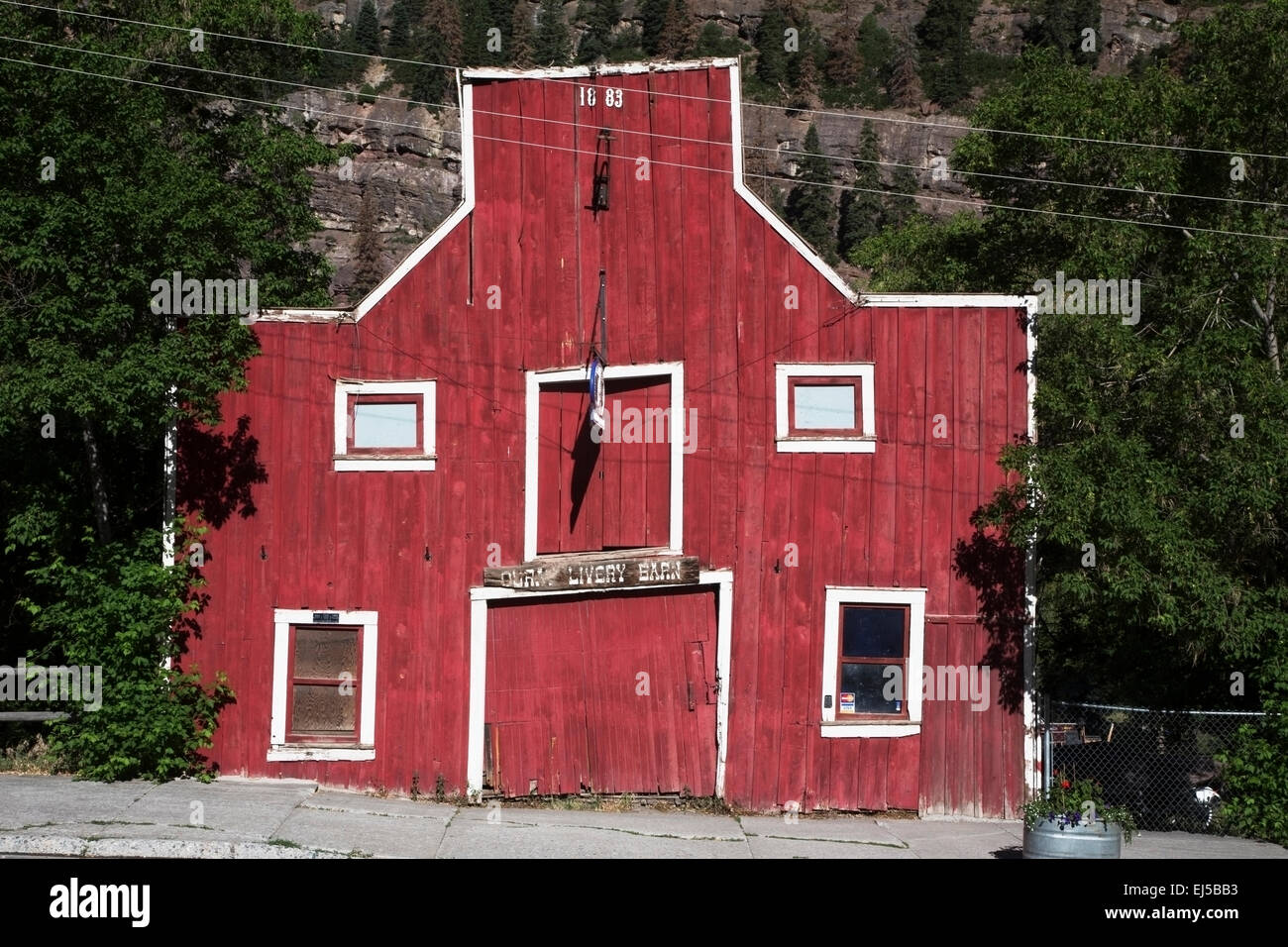Red Ouray Livery Barn, Ouray, Colorado, USA - Stock Image