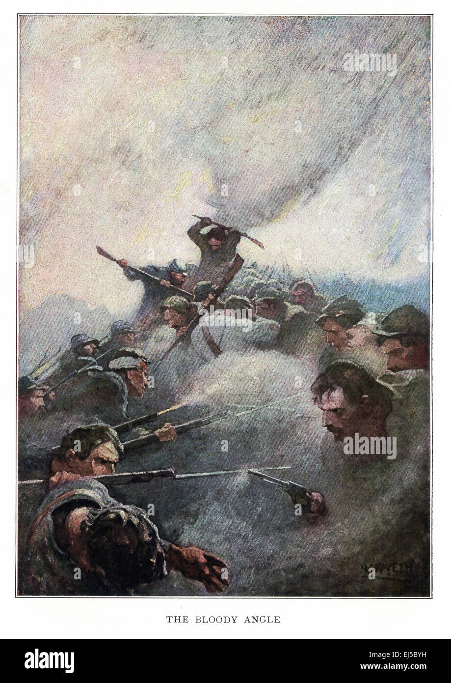 This illustration titled The Bloody Angle is from Mary Johnston's 1912 novel titled Cease Firing, which was - Stock Image