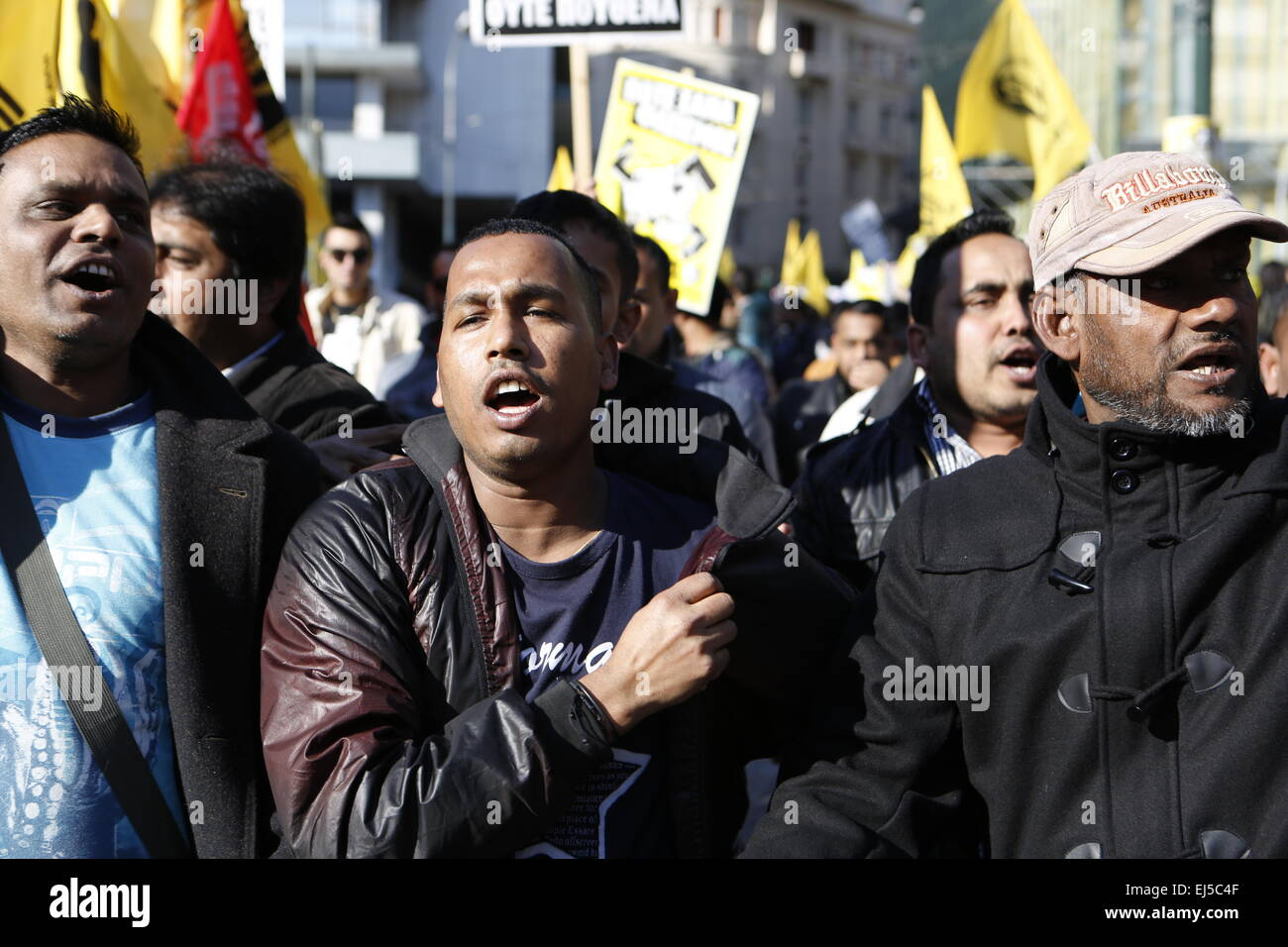 Athens, Greece. 21st Mar, 2015. An immigrant shouts anti-rasist slogans. ANTARSYA (Anticapitalist Left Cooperation - Stock Image