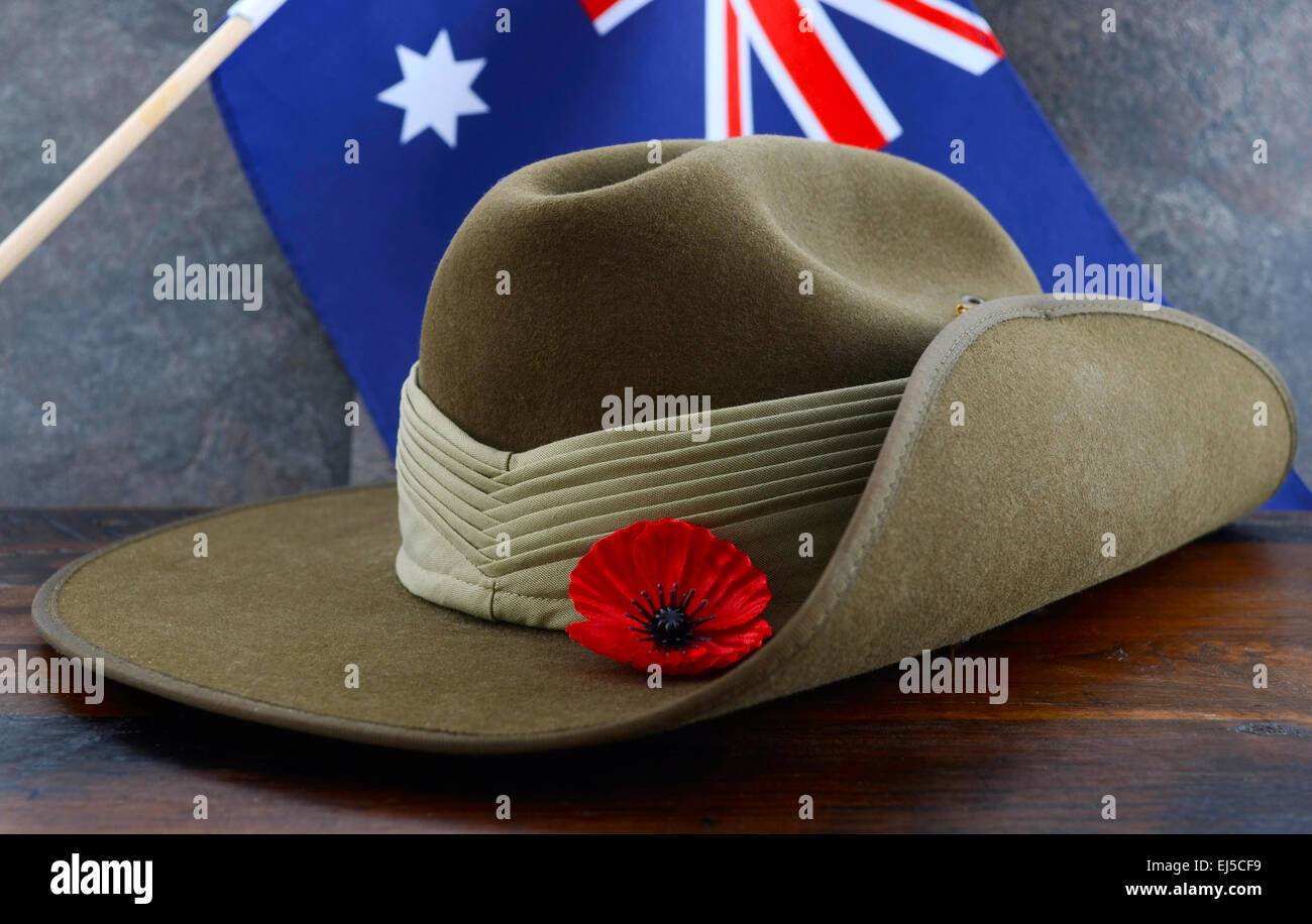 cba5430473e Anzac army slouch hat with Australian Flag on vintage wood background. -  Stock Image