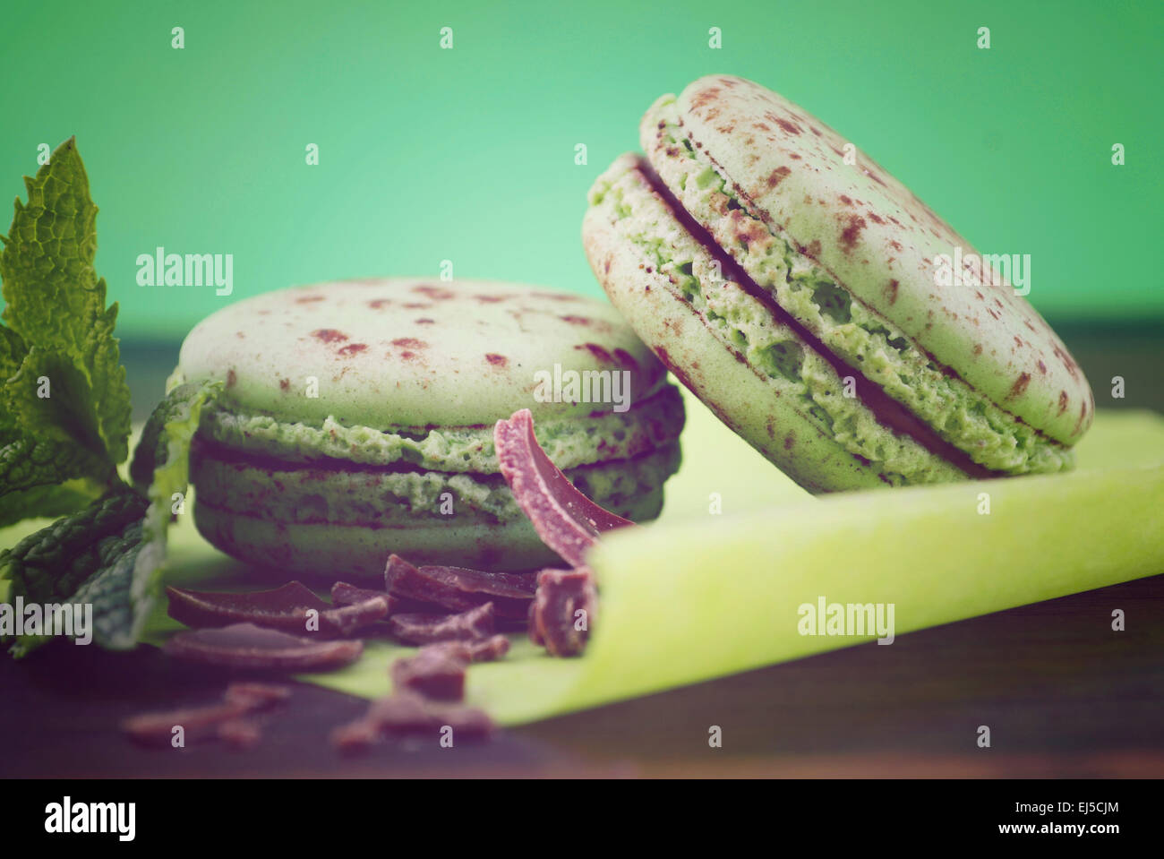 Chocolate and mint flavor macaroons on dark wood table and green background, with applied retro vintage style filters. - Stock Image