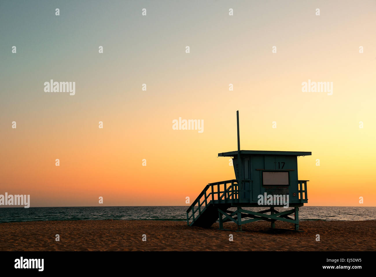Santa Monica beach safeguard tower at sunset in Los Angeles - Stock Image