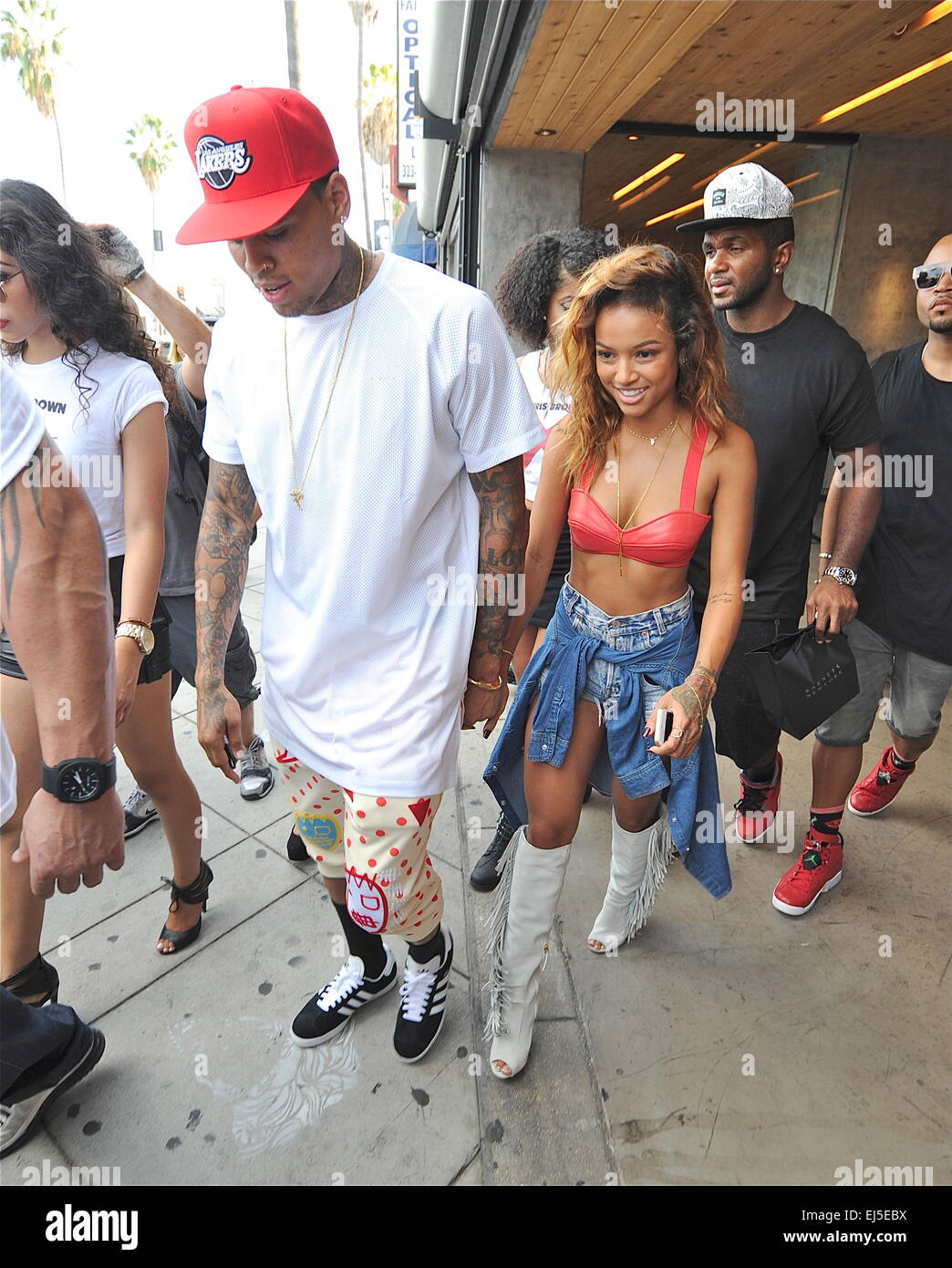 Chris Brown and Karrueche Tran shopping in Hollywood ...