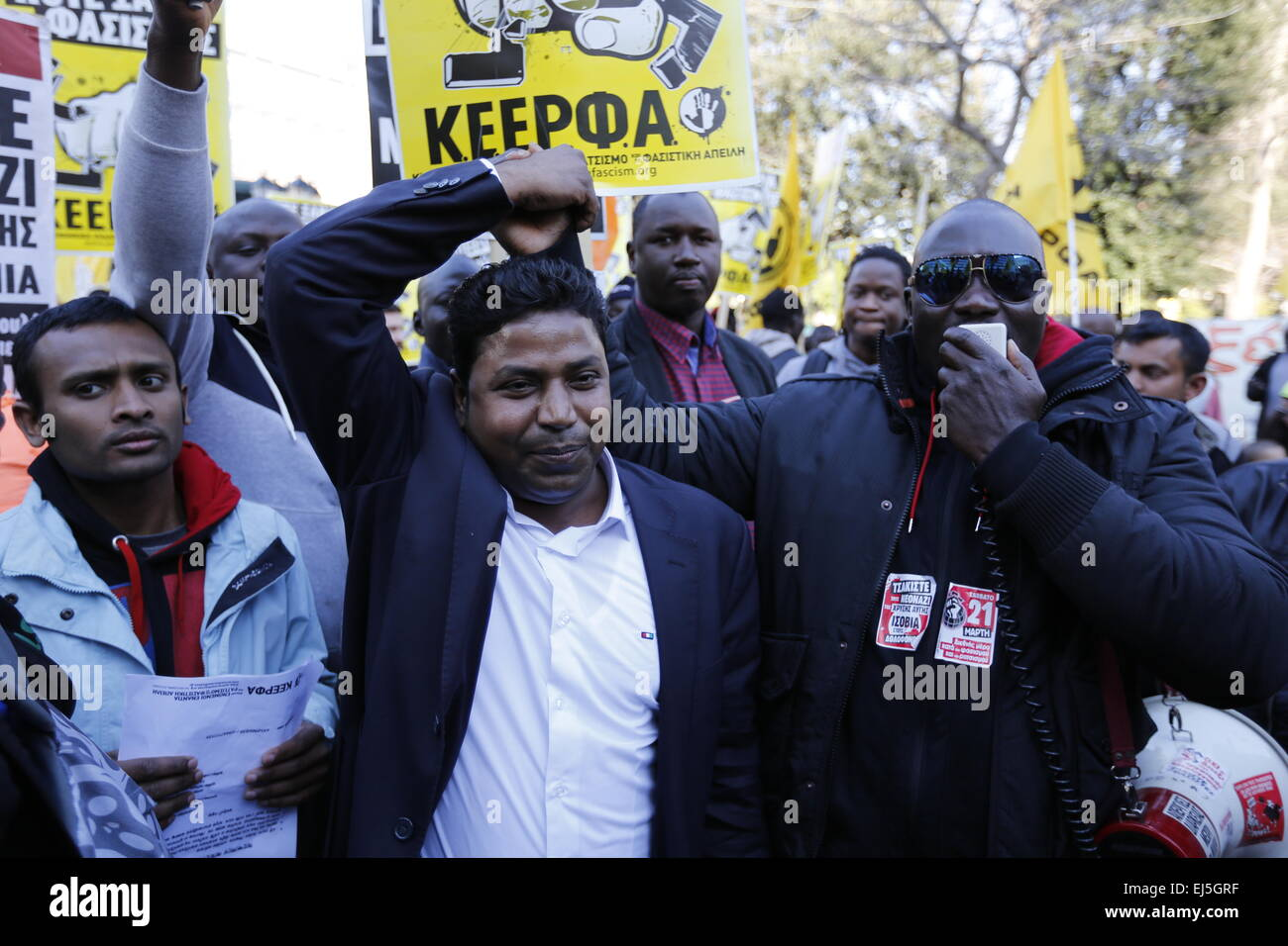 Athens, Greece. 21st March 2015. Immigrants shout slogans against rasicsm. ANTARSYA (Anticapitalist Left Cooperation - Stock Image