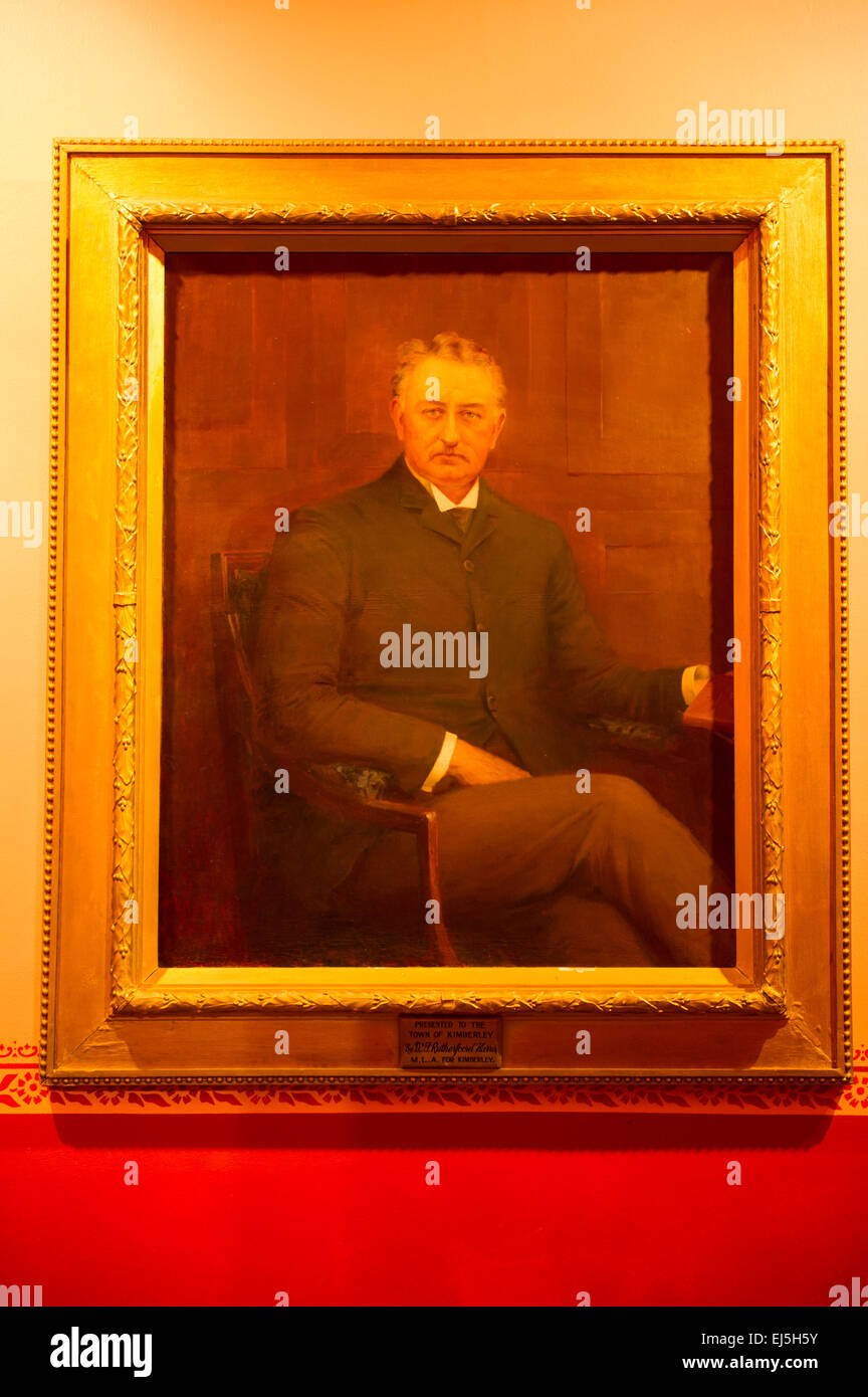 Painting of Cecil John Rhodes, Mc Gregor Museum, Kimberley, South Africa - Stock Image