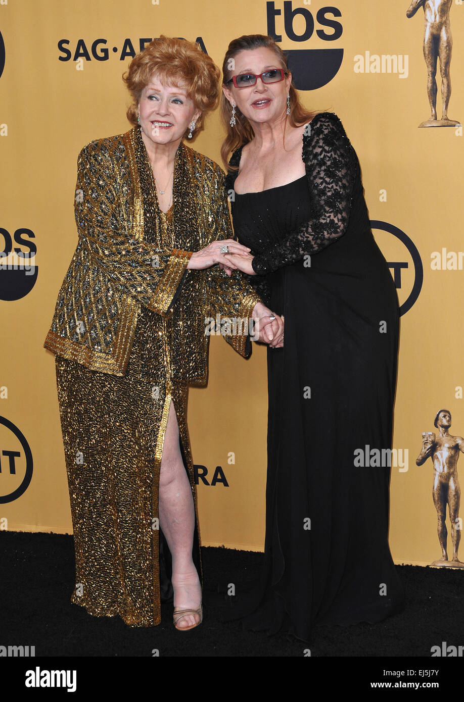LOS ANGELES, CA - JANUARY 25, 2015: Debbie Reynolds & daughter Carrie Fisher at the 2015 Screen Actors Guild - Stock Image