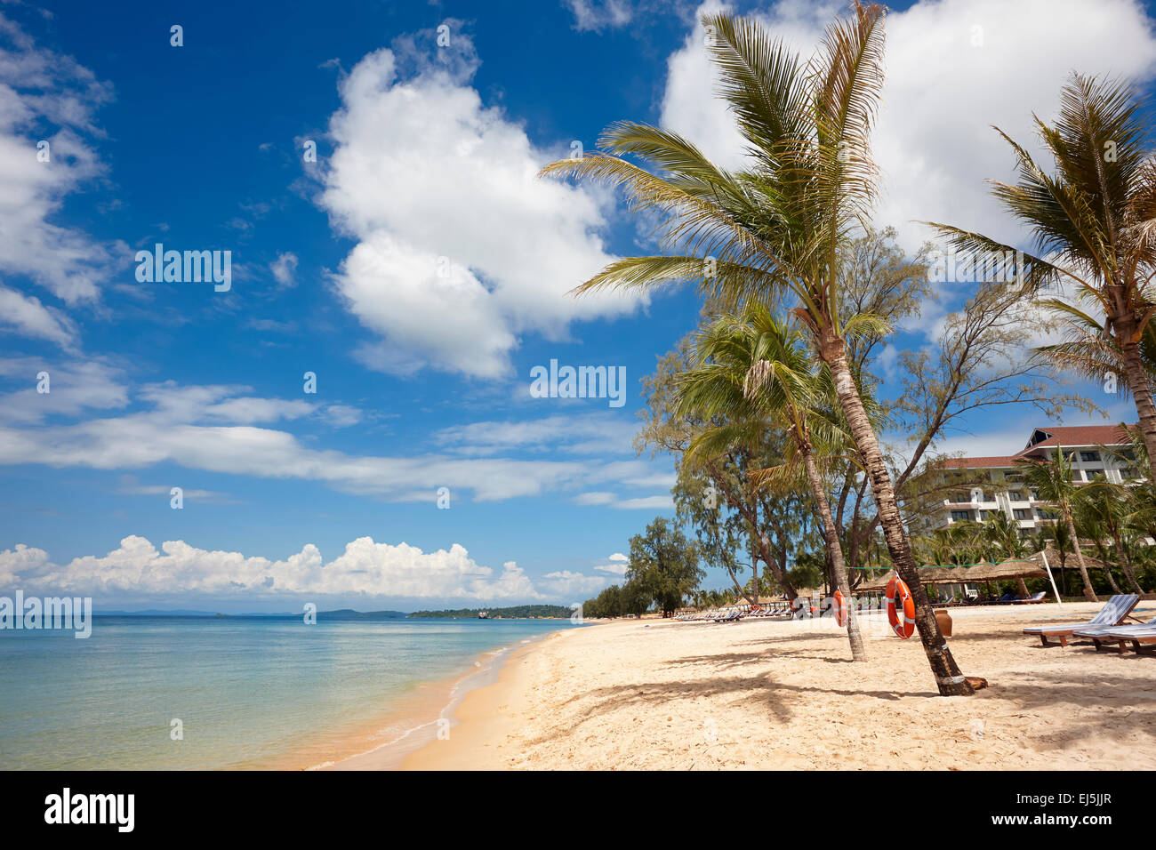 Clean sandy beach at Vinpearl Resort, Phu Quoc island, Vietnam. - Stock Image