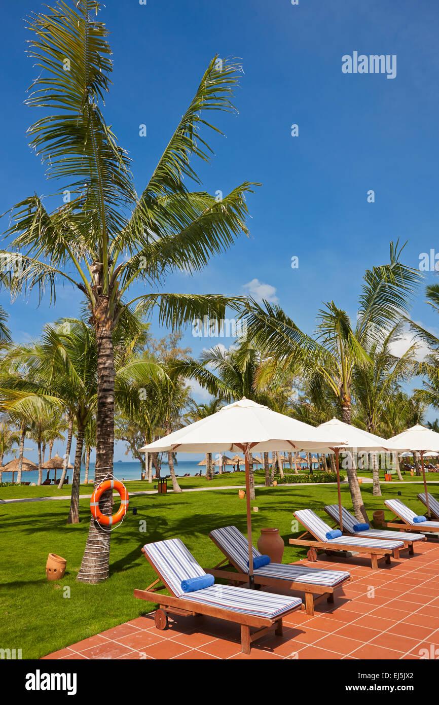 Pool area in Vinpearl Resort. Phu Quoc island, Vietnam. - Stock Image