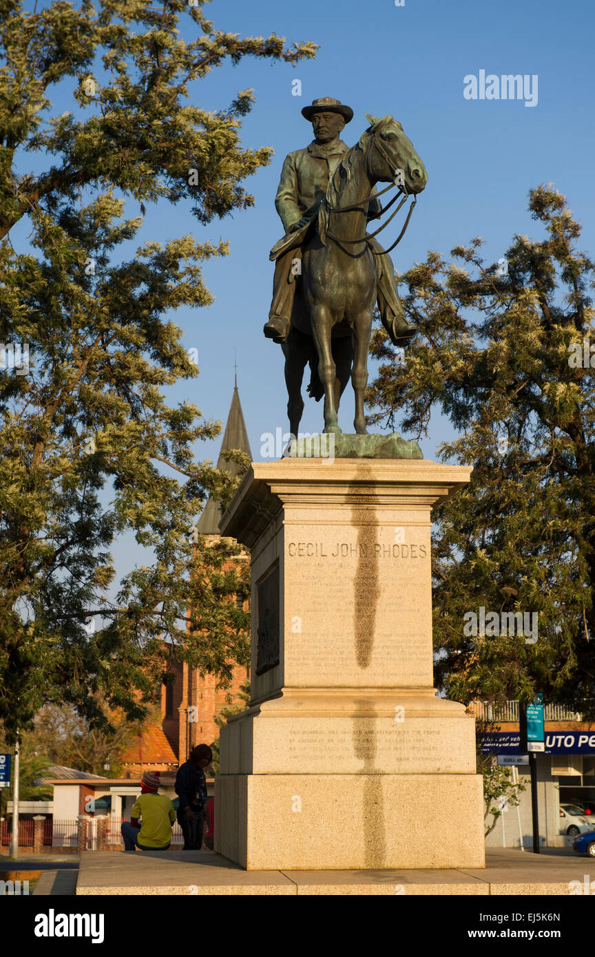 Equestrian statue of Cecil John Rhodes, Kimberley, South Africa Stock Photo