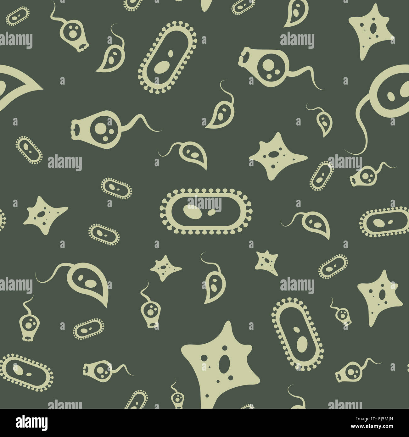 Vector image of a Bacterium seamless pattern - Stock Image