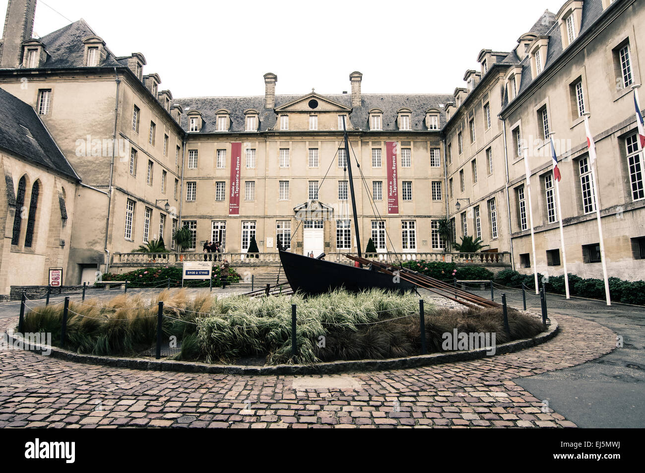 The famous Bayeux Tapestry, actually a rather large piece of embroidered artwork, is housed in this museum in Bayeux, - Stock Image