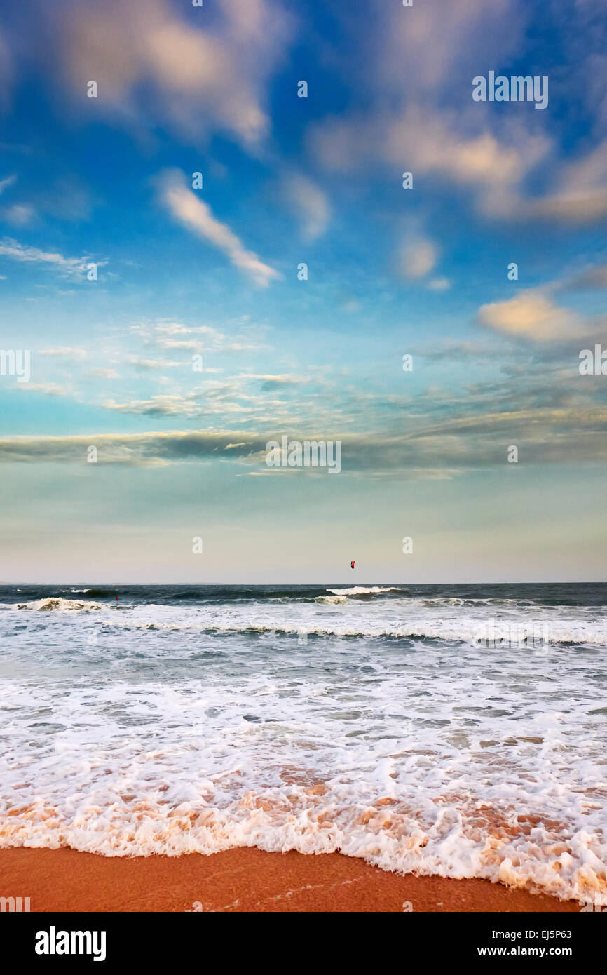 Ocean waves pounding on Mui Ne Beach. Mui Ne, Binh Thuan Province, Vietnam. - Stock Image
